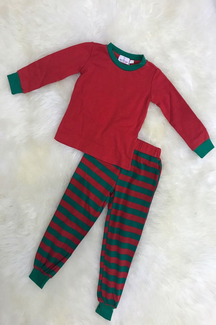 Children's Elf Green and Red Stripe PJ's