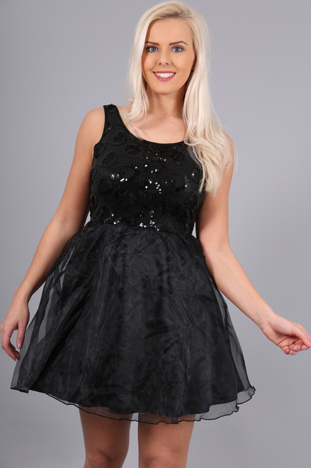 Trixie Black Chiffon and Sequin Skater Dress