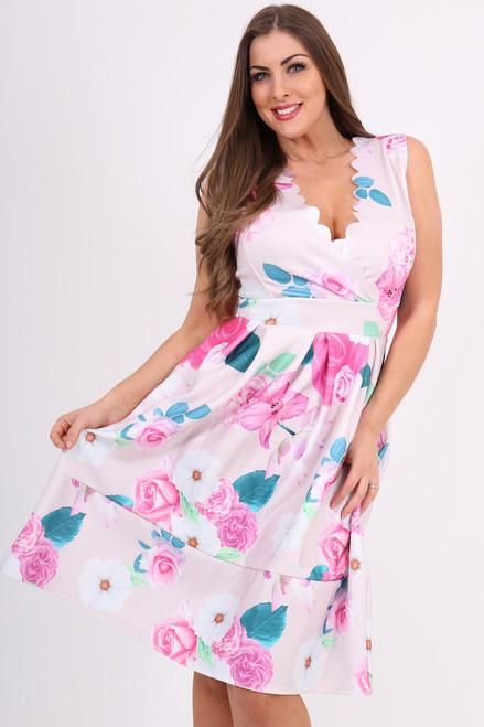 Pink Rue Floral  Scallop Skater Dress