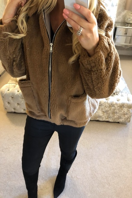 Brown Teddy Bear Biker Jacket