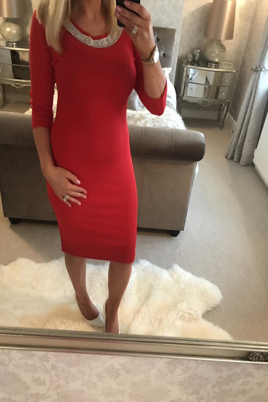 Red Empire Bandage Dress