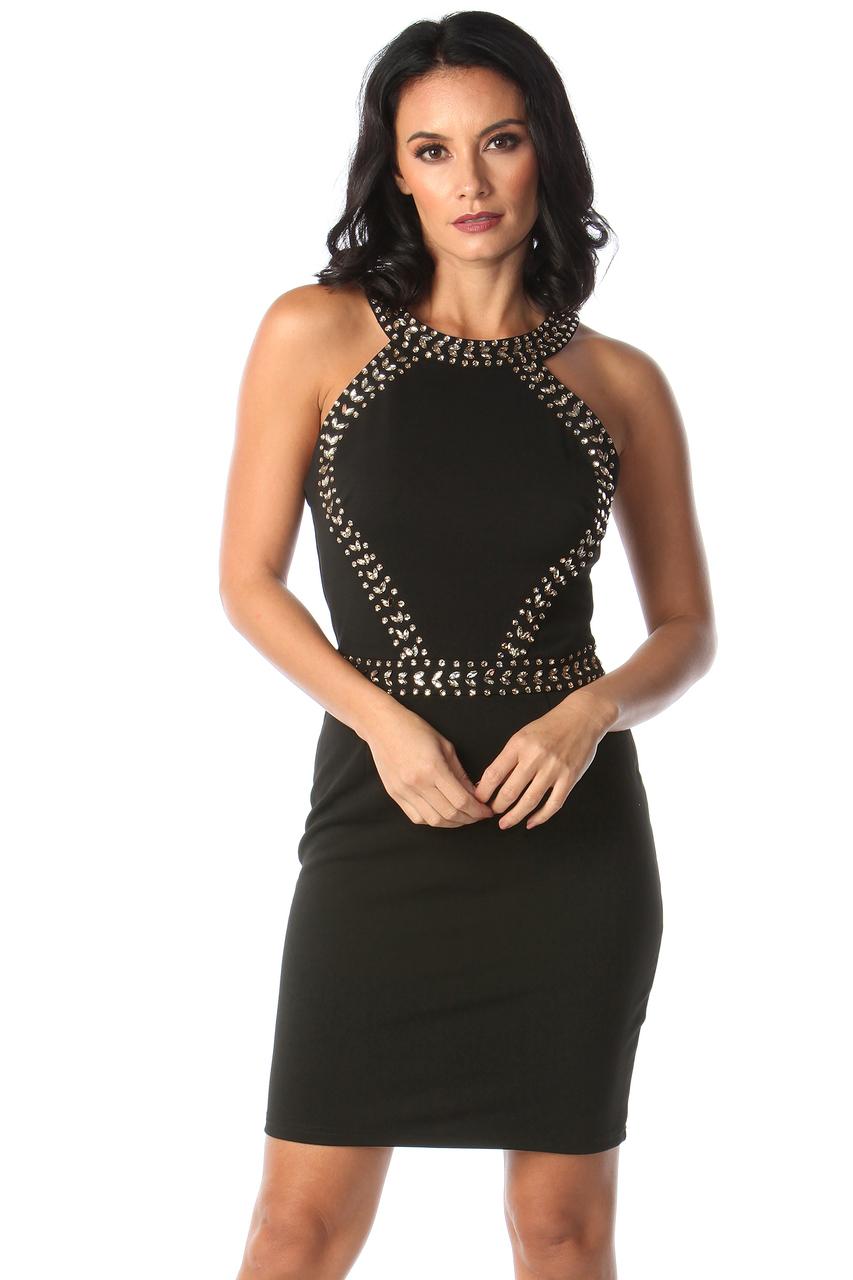 Lux Maya Black Diamond Bodycon Dress