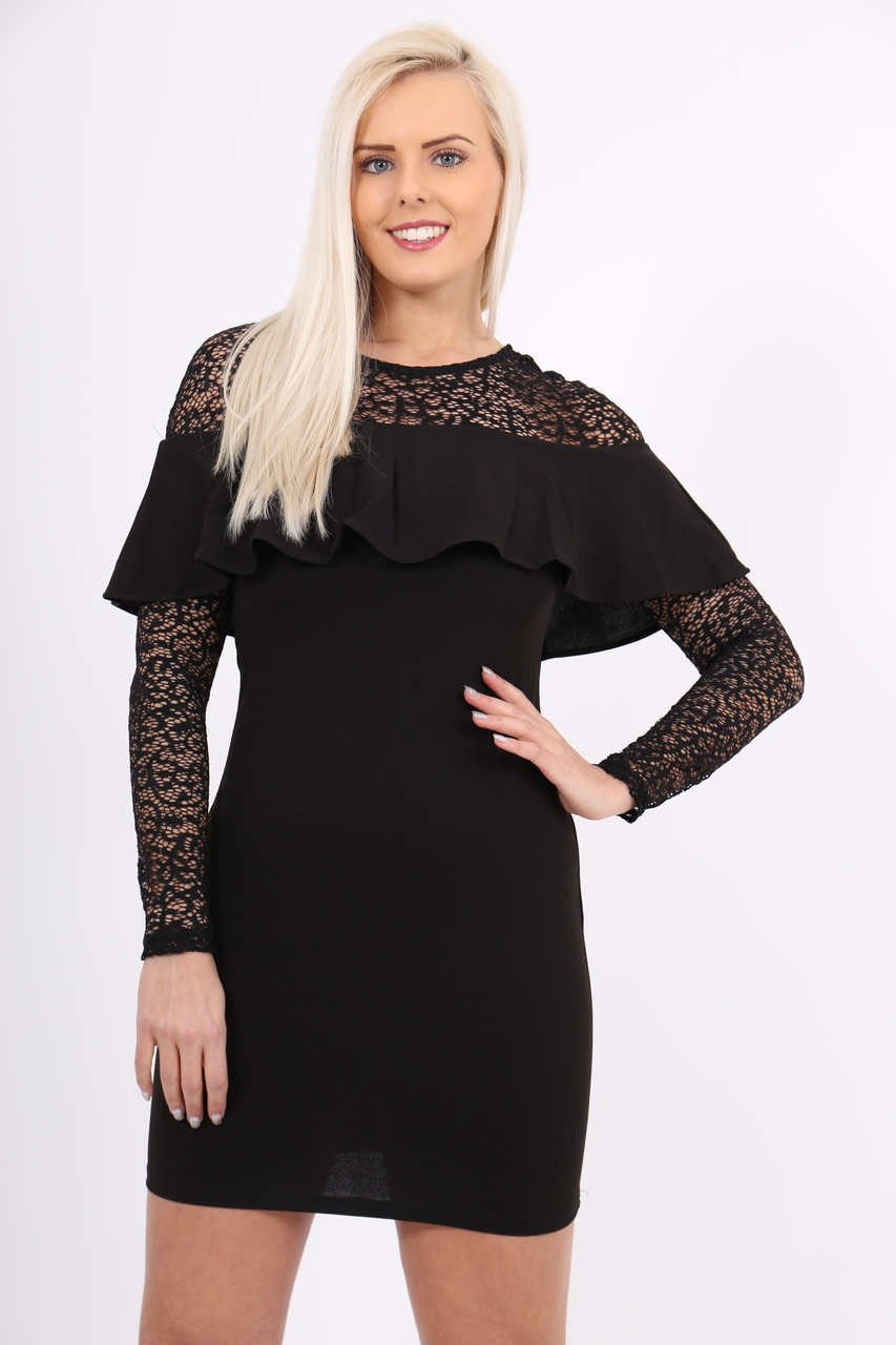 Jasmine Black Bardot Frill Lace Midi Dress
