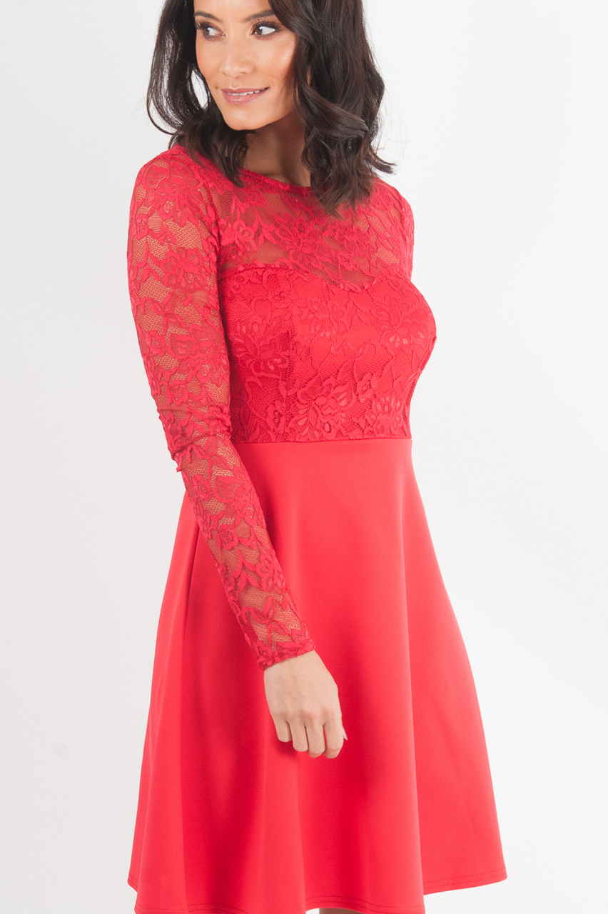 Gabriela Red Lace Skater Dress