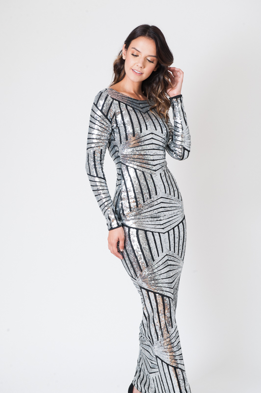 Silver Valentina Evening Maxi Dress