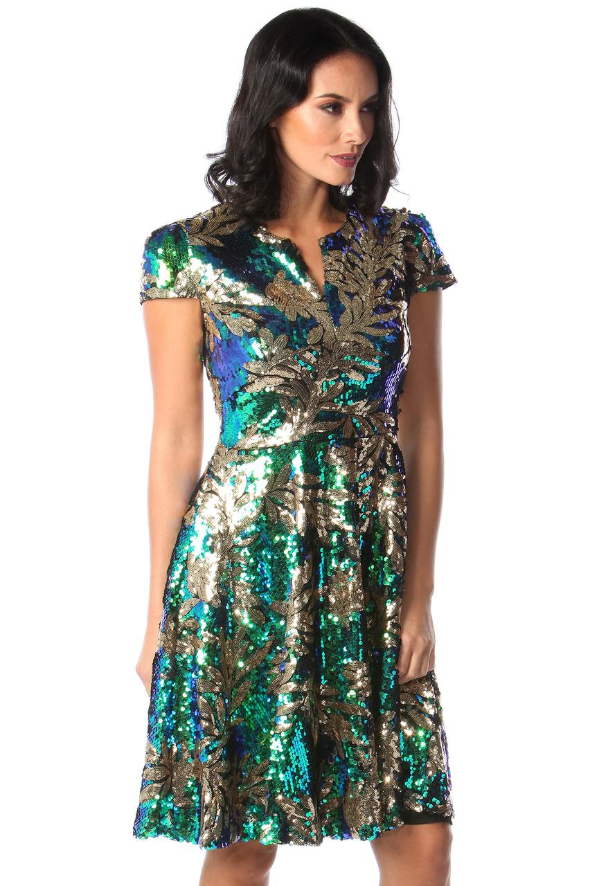 Todone Multicolour Sequin Skater Dress