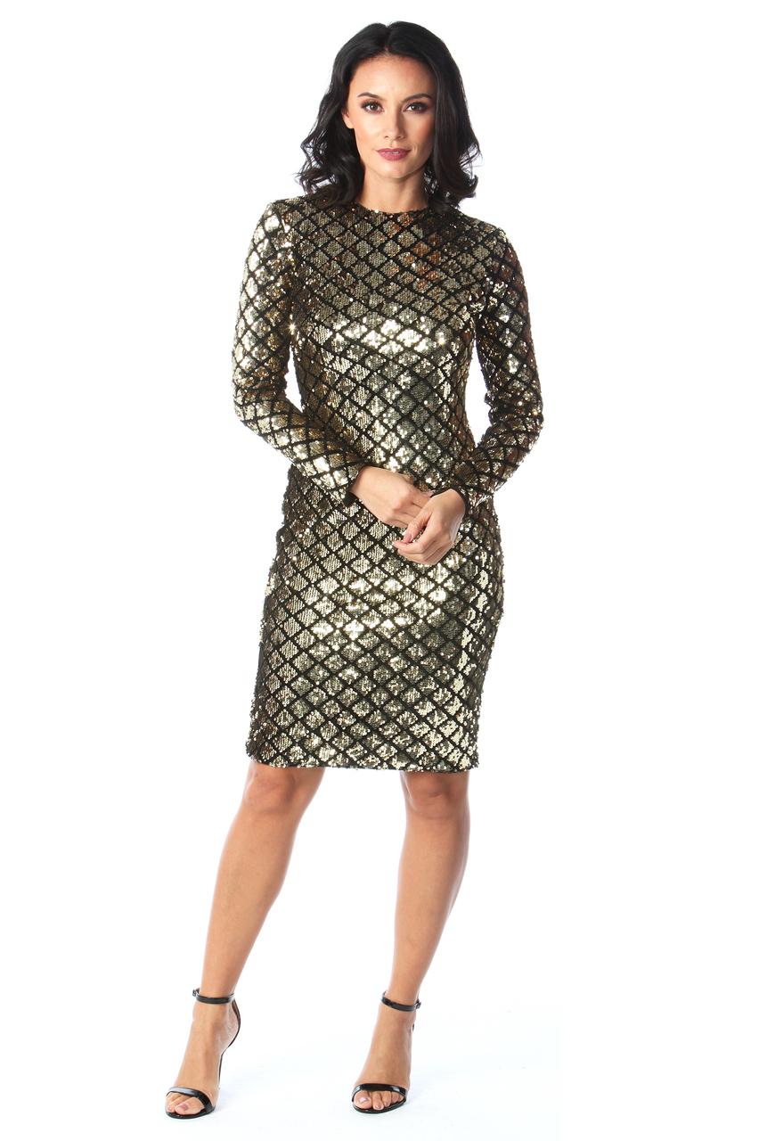 Ciara Gold & Black Sequin Midi Dress