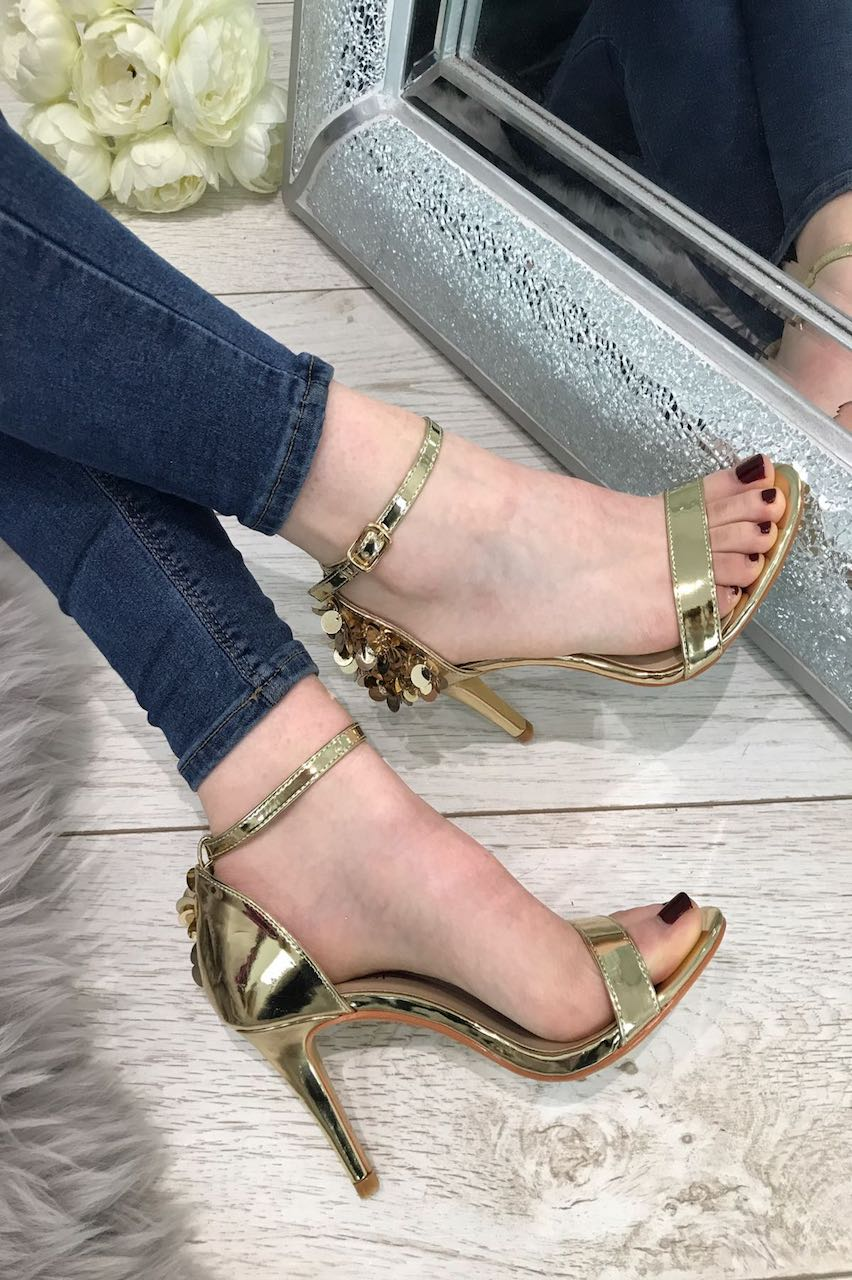 Gold Sequin Strap Heels