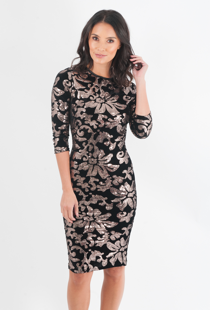 Fresno Black & Gold Sequin Velvet Midi Dress