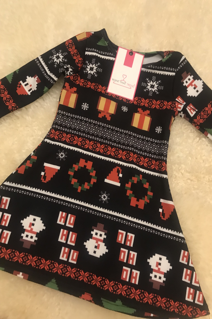 Children's Multi-Pattern Geometric Christmas Swing Dress
