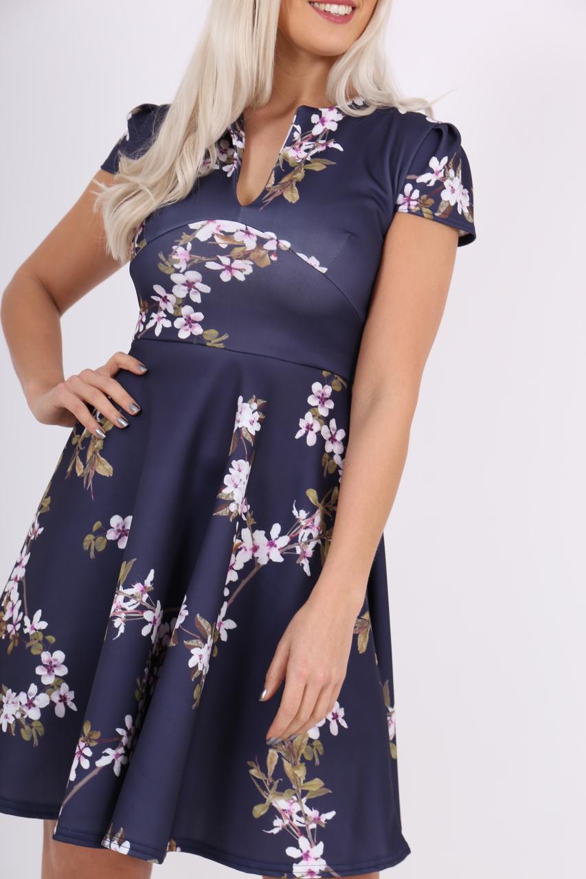 Amaryllis Navy Floral Keyhole Skater Dress