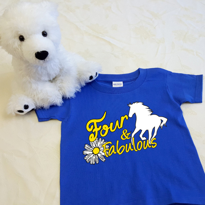 Four and Fabulous Horse T-Shirt in Baby & Toddler Sizes