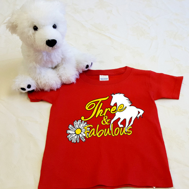 Three and Fabulous Horse T-Shirt in Baby & Toddler Sizes