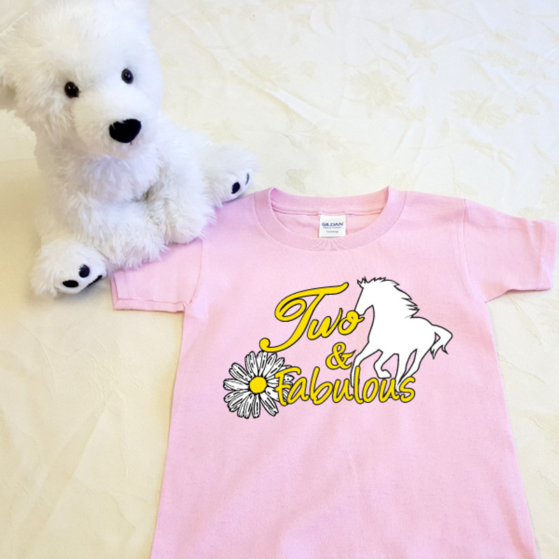 Two and Fabulous Horse T-Shirt in Baby & Toddler Sizes