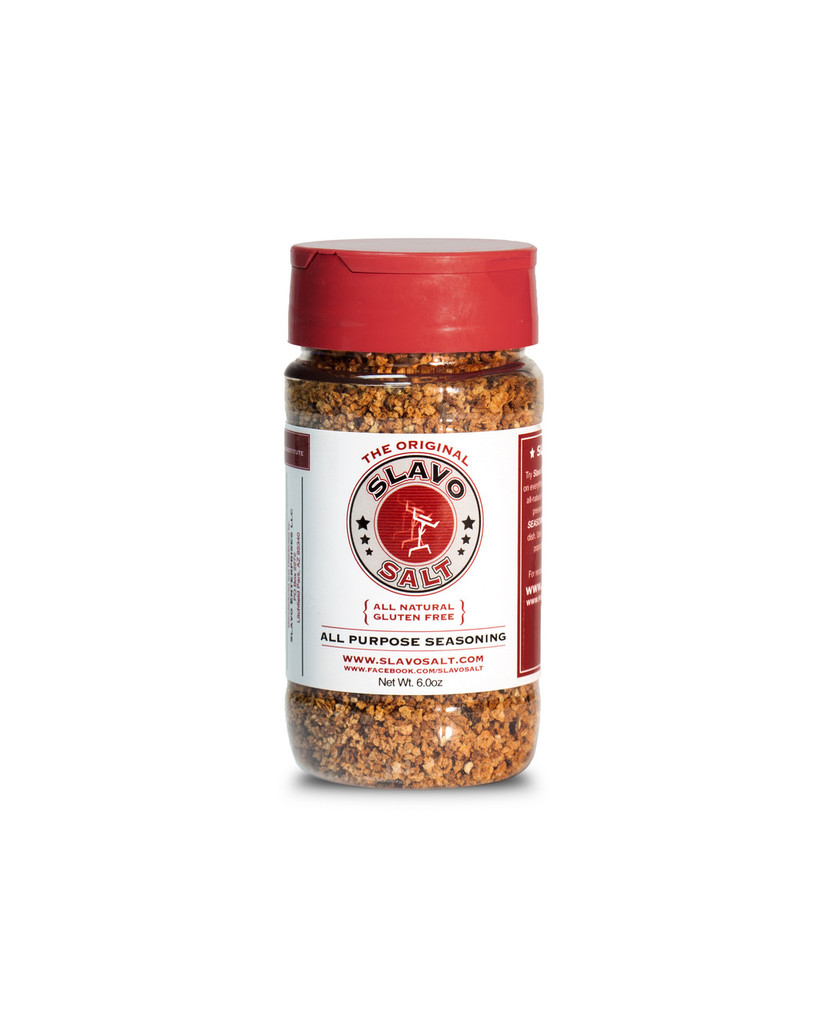 Try Slavo All-Purpose Seasoning once and you'll be putting it on everything! Made with the highest quality, all-natural ingredients without additives or preservatives, this gourmet seasoning enhances the flavor of any dish.  Use it on meat, fish, eggs, veggies, popcorn and even Bloody Marys!  Ingredients: Fresh Garlic, Kosher Salt, Black Pepper