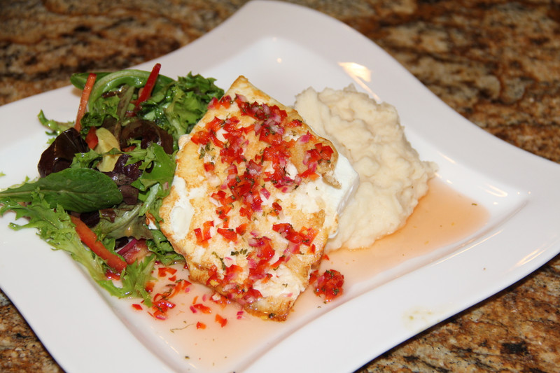 Grilled Halibut with Sweet Thai Chile Sauce over Mixed Field Greens with Wasabi Vinaigrette.