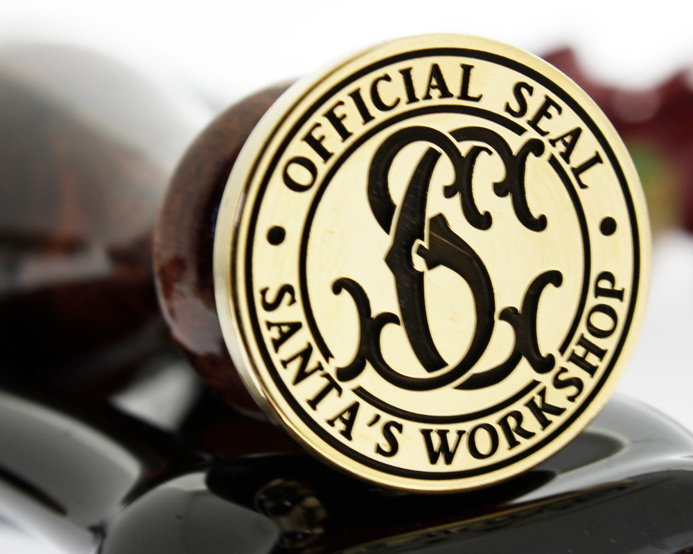 Christmas Official Seal Santas Workshop Monogram D2 laser engraved