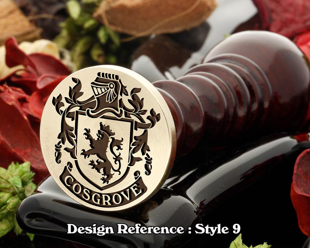 Cosgrove Family Crest Wax Seal D9