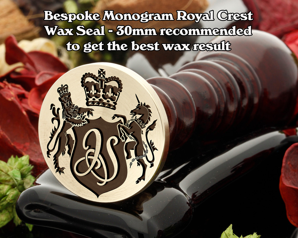 Royal Crest Monogram Wax Seal - example JS