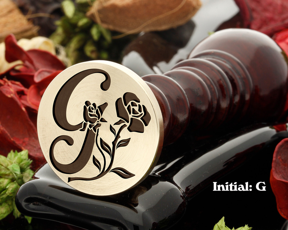 Rose Initial G Wax Seal Design - Engraved to Order