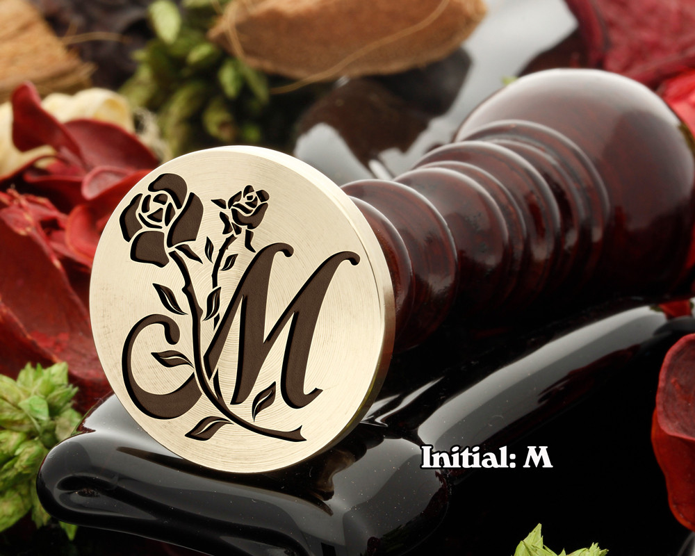 Rose Initial M Wax Seal Design - Engraved to Order