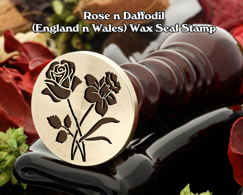 Rose n Daffodil Wax Seal Stamp (rose will be on the left in the sealing wax)