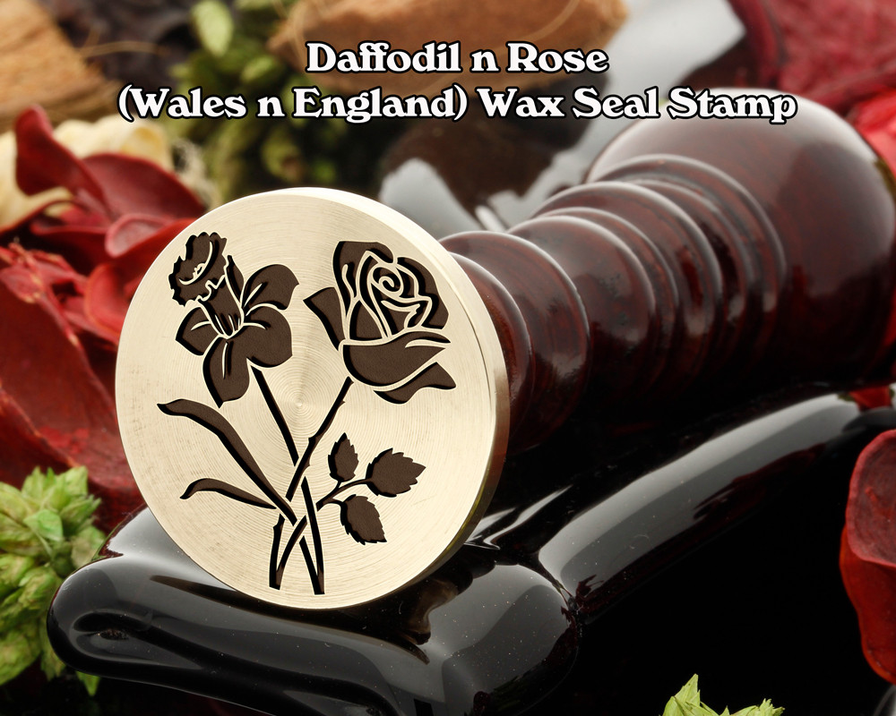 Daffodil n Rose Wax Seal Stamp (daffodil will be on the left in the sealing wax)