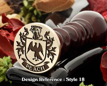 Peach Family Crest Wax Seal D18