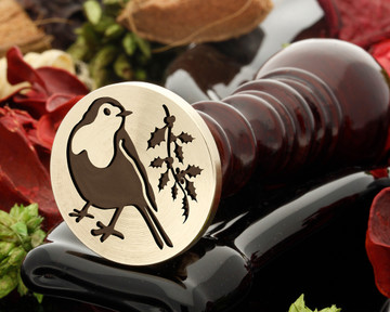 Robin and holly design wax seal