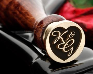 Engraved heart monogram wax seal example K&G