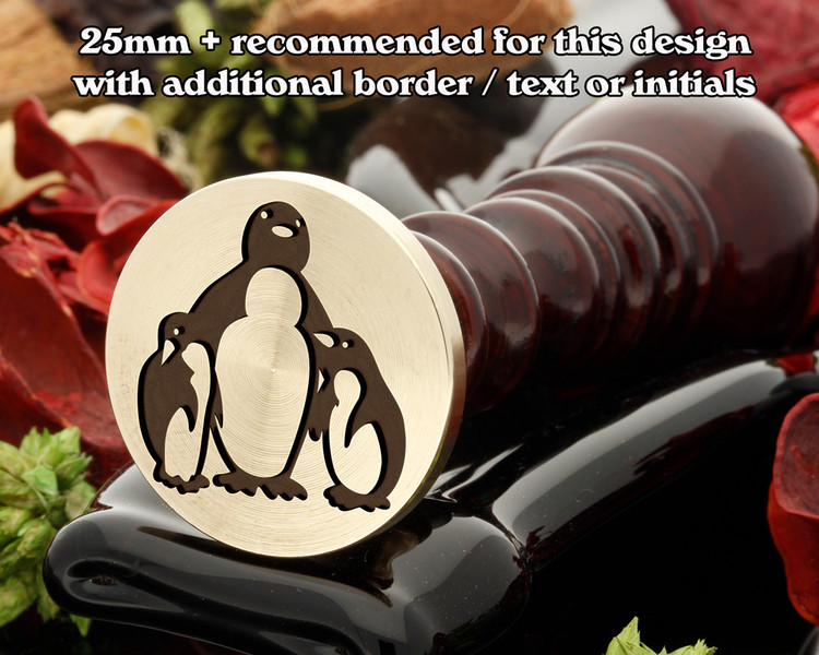 Penguins wax seal, mom and baby
