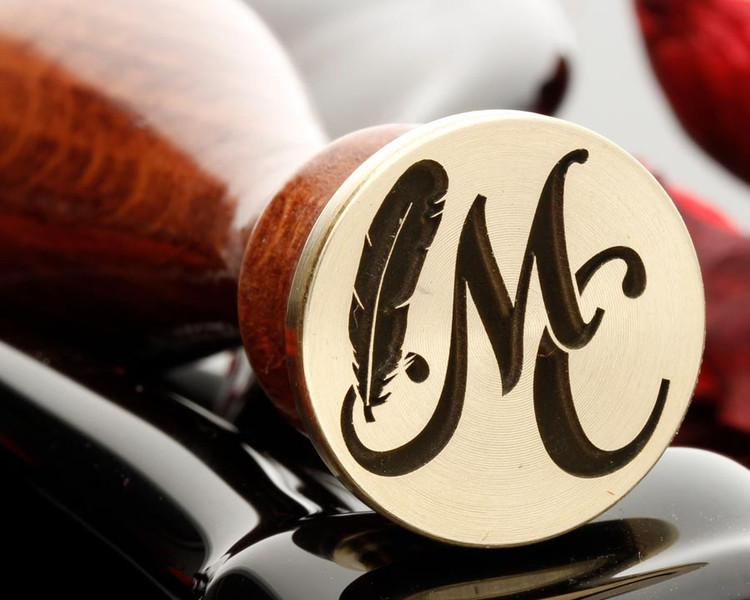 Feather and Monogram Wax Seal Design