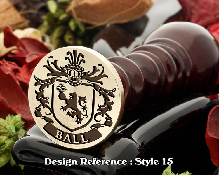 Ball Family Crest Wax Seal D15