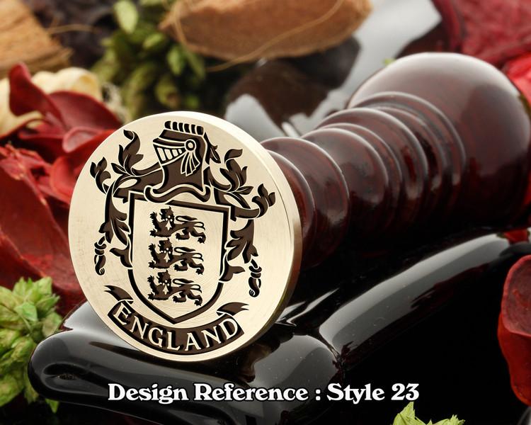 England Family Crest Wax Seal D23