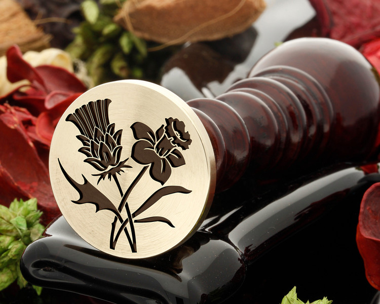 Thistle and Daffodil Wax Seal Design