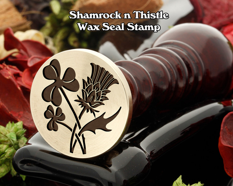 Shamrock and Thistle Wax Seal Stamp, shamrock on left in sealing wax