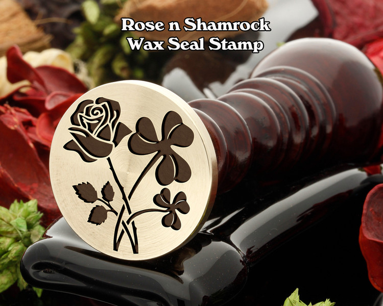 Rose n Shamrock Wax Seal Stamp (rose will be on the left in the sealing wax)