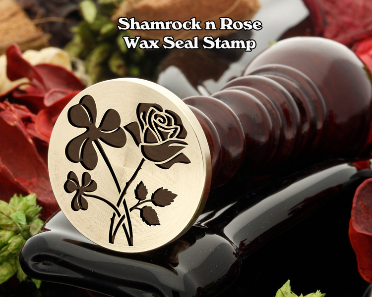 Shamrock n Rose Wax Seal Stamp ( shamrock will be on the left in the sealing wax)