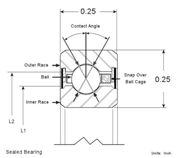 Sealed Bearing Cross Section 1/4 x 1/4