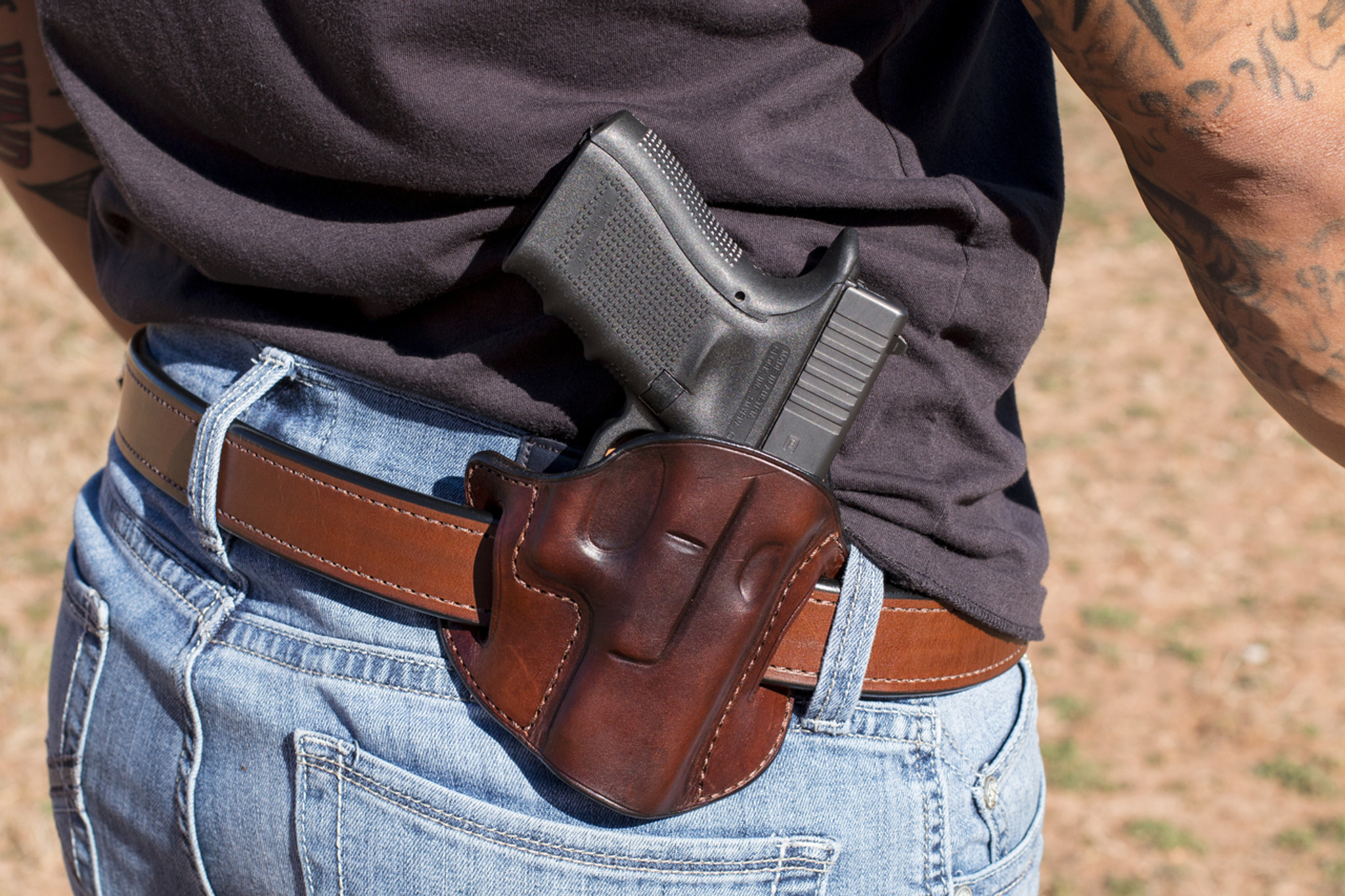 Two Step Owb Leather Holster Semi Automatic Jm4 Tactical