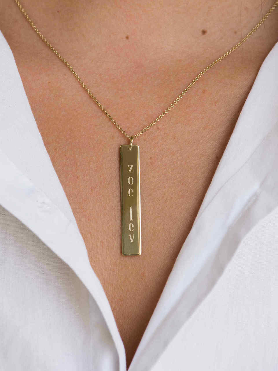 Vertical Nameplate Necklace Zoe Lev Jewelry