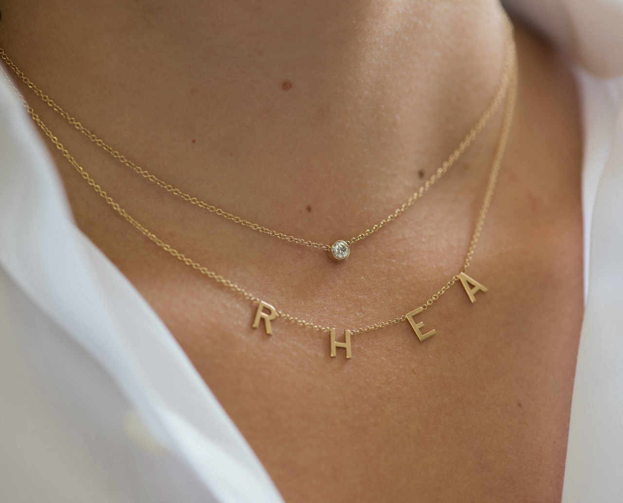 14k gold spaced letter necklace