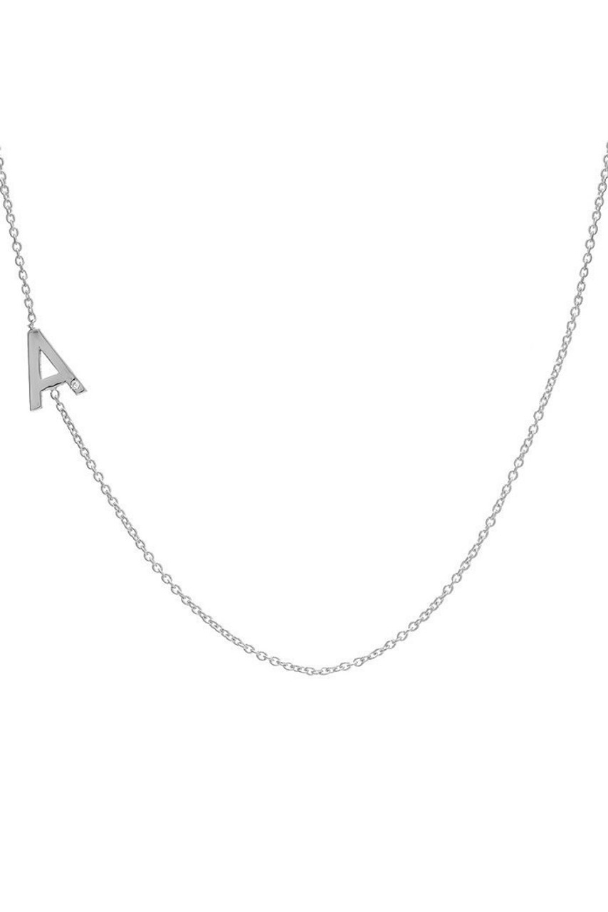 14k gold asymmetrical initial necklace zoe lev jewelry 14k gold asymmetrical initial with tiny diamond necklace mozeypictures Choice Image