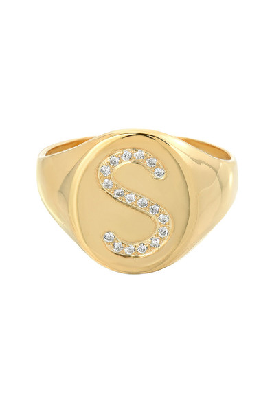 Diamond initial large signet ring