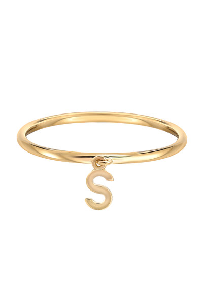 14k gold initial pendant ring