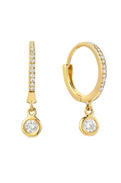 14k gold diamond hoops with drop bezel earrings
