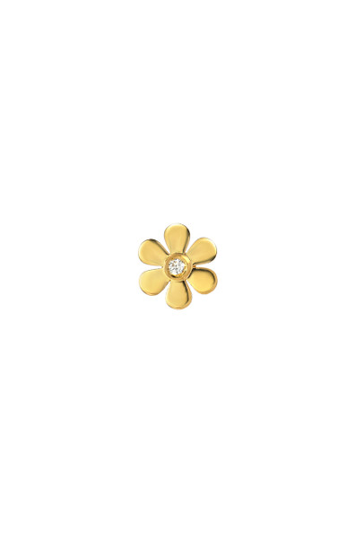 14k gold flower with tiny diamond