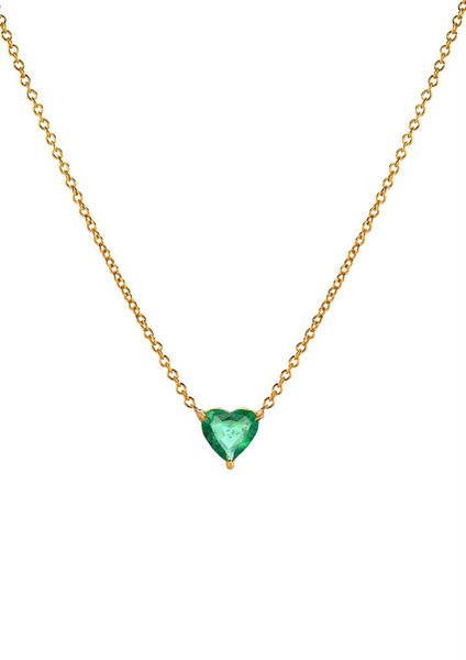 Large Emerald Heart Necklace