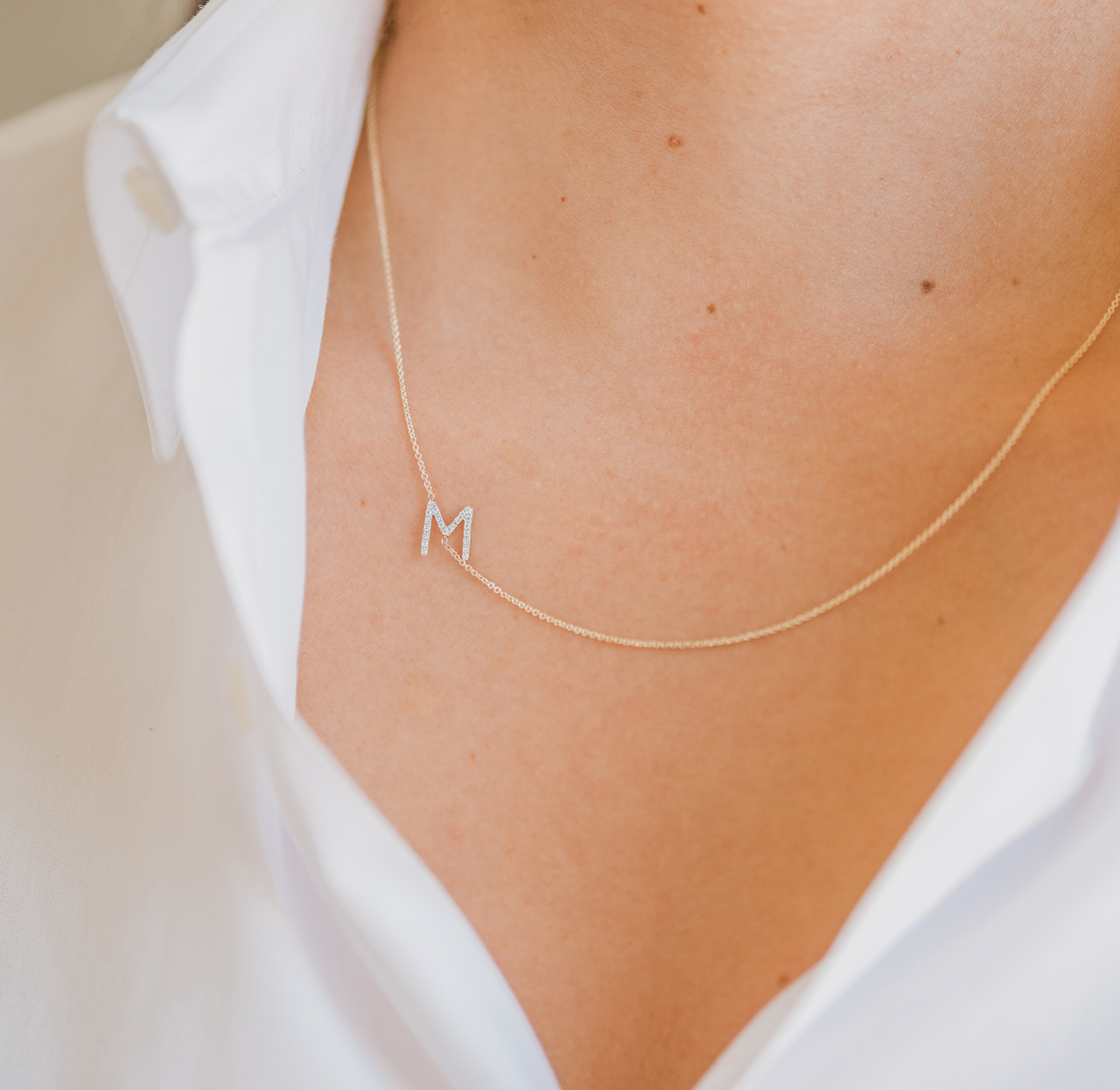 necklace initial asymmetrical products assymetrical bychari diamond and