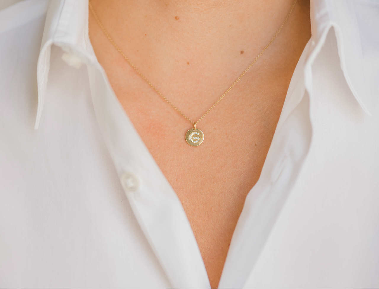 Diamond initial disc necklace 14k gold small diamond initial disc pendant aloadofball Image collections